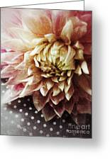 Flower On Black And White Polka Dots Greeting Card