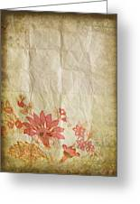 Flower Pattern On Old Paper Greeting Card