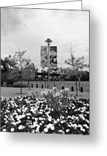 Flowers At Citi Field In Black And White Greeting Card by Rob Hans