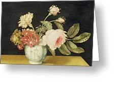 Flowers In A Delft Jar  Greeting Card