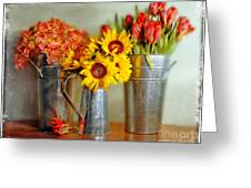Flowers In Cans Greeting Card