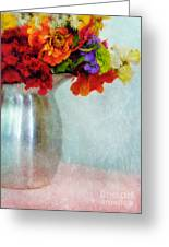 Flowers In Metal Pitcher Greeting Card
