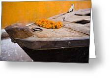 Flowers On Top Of Wooden Canoe Greeting Card