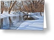 Flowing Water In The Winter Greeting Card