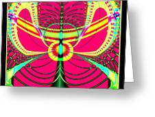 Fluorescent Butterfly Fractal 68 Greeting Card