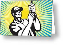 Fly Fisherman Fishing Retro Woodcut Greeting Card by Aloysius Patrimonio