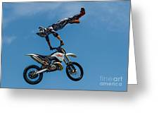 Flying High Motorcyle Tricks Greeting Card