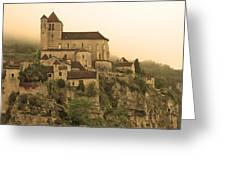 Fog Descending On St Cirq Lapopie In Sepia Greeting Card