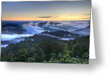 Fog Lifting At Sunrise Greeting Card