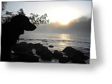 Fog On The Rocks Sunrise Greeting Card