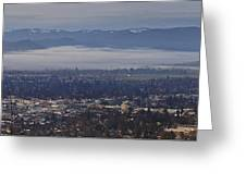 Fog Over A Grants Pass Morning Greeting Card
