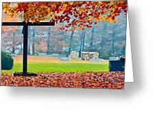 Foggy Autumn Cemetery Greeting Card