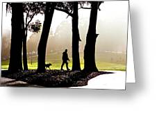 Foggy Day To Walk The Dog Greeting Card