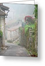 Foggy Lane In St Cirq Greeting Card