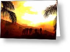 Foggy Palms Greeting Card