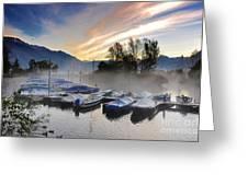 Foggy Port In Sunrise Greeting Card