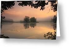 Foggy Summer Sunrise At Harvard Pond Greeting Card