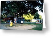 Folk Art Yard And Tree Greeting Card