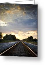 Follow The Tracks Greeting Card by Carolyn Marshall