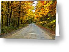 Follow The Yellow Leafed Road Painted Greeting Card