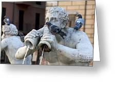 Fontana Del Moro In Piazza Navona. Rome Greeting Card by Bernard Jaubert