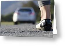 Foot And Car Greeting Card