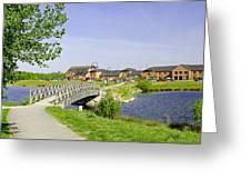 Foot-bridge And Lake - Barton Marina Greeting Card