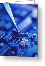Forceps Holding A Resistor Over A Circuit Board Greeting Card