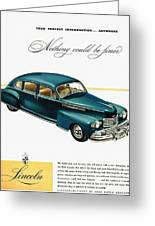 Ford Lincoln Ad, 1946 Greeting Card