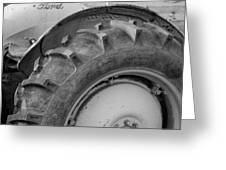 Ford Tractor In Black And White Greeting Card