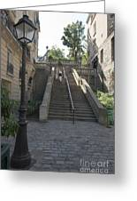 Foreshortening Of Montmartre With Street Lamp And Staircase Greeting Card