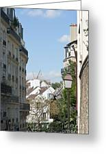 Foreshortening Of Paris With Windmill Sails Greeting Card