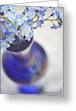 Forget Me Nots In Deep Blue Vase Greeting Card