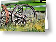 Forgotten Wagon Wheel Greeting Card by Sarai Rachel