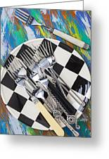 Forks On Checker Plate Greeting Card