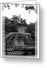 Forsyth Park Fountain - Black And White Greeting Card