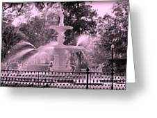 Forsyth Park Fountain In Pink Greeting Card