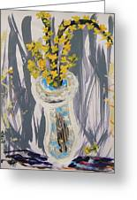 Forsythia In Old Clear Vase Mary Carol Greeting Card