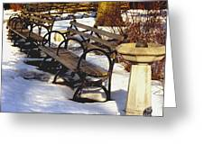 Fountain And Benches In Snow Greeting Card