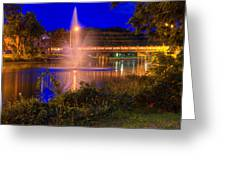 Fountain And Bridge At Night Greeting Card