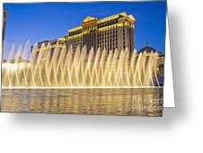 Fountains Of Bellagio In Front Of Caesar's Palace Hotel And Casi Greeting Card