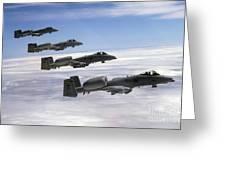 Four A-10 Thunderbolt IIs Fly Greeting Card