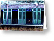 Four Balcony Windows Greeting Card