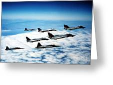 Four F-14 Tomcats And Three F-5 Tiger Greeting Card