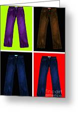 Four Pairs Of Blue Jeans - Painterly Greeting Card