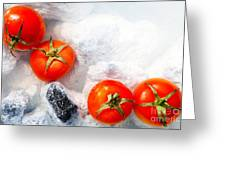 Four Red Tomatos  Greeting Card