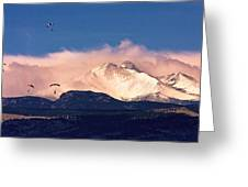 Four Skydivers With Longs Peak And Mount Meeker Rocky Mountain H Greeting Card