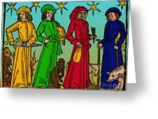 Four Temperaments, Medieval Woodcut Greeting Card