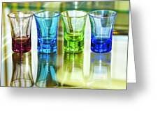 Four Vodka Glasses Greeting Card