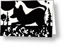 Fox At Night In Clover Patch Greeting Card